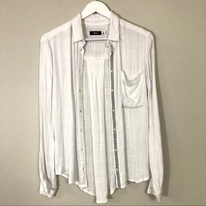 BDG white button down long sleeve top